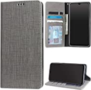 TecKraft Sturdy PU Leather Wallet Stand Flip Book Cover Case for Redmi Note 8 Pro (Texture ID Grey)