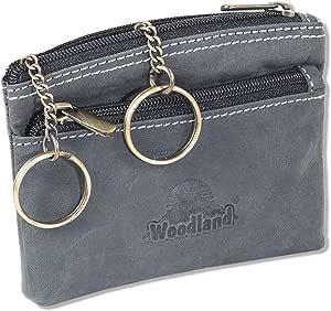 Woodland® Große Leder Schlüsseltasche mit Extrafach in Rot aus Büffelleder