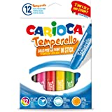 Carioca Témperas de Barra Temperello | Témperas Sólidas de Colores para Niños, Témperas Super Lavables, Colores Surtidos, 12