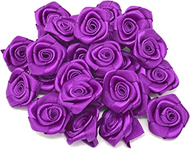 Lila 25/mm Satin Ribbon Rose Blumen dekorativen Craft Blumen lila