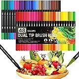 Feutre Coloriage,Dual Brush Pen Set de 48 feutres à double fibre,Feutre Aquarelle avec Stylo Feutre Double Pointe Fine 0.4mm