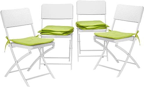 Relaxdays 8X Stuhlkissen, Sitzkissen mit Schleife, Auflage für Stühle in Haus und Garten, waschbar, Stuhlauflage, Polyester, grün