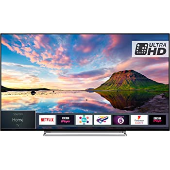 Toshiba 55U5863DB 55-Inch Smart 4K Ultra-HD HDR LED WiFi TV with Freeview Play- Black/Silver (2018 Model), enabled with Amazon Dash Replenishment