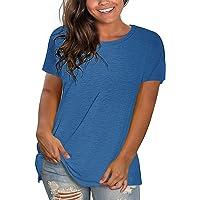 PLOKNRD Magliette Taglie Forti da Donna Magliette Crewneck Manica Corta Magliette semplici da Allenamento vestibilità…