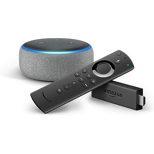 Fire TV Stick con telecomando vocale Alexa + Echo Dot (3ª generazione), Tessuto grigio mélange