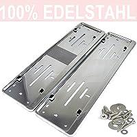 LP A199 2 x Kennzeichenhalter in Edelstahl poliert - 100% EDELSTAHL -auch passend für gebogenen Stosstangen- INOX C.4580