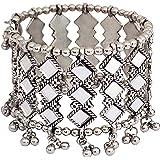 C&G INDIA Fashion Jewellery Silver Oxidised Mirror Cuff Bangle Bracelet