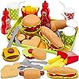 Buyger Hamburguesa Comida Desmontar Juguetes, Cocina Alimentos Juguetes Plástico Accesorios con Bandeja Vajilla Juego de rol