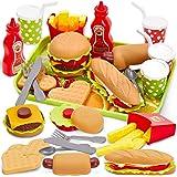 Buyger Comida Hamburguesa Juguete Cocina Accesorios Alimentos Juguetes Cocinita con Bandeja, Color/Modelo Surtido, Juego de r