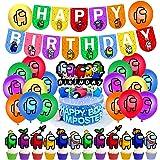 Ksopsdey 38Pcs Cumpleaños Decoracion de Among Us Globos Pancarta de Feliz Cumpleaños Adornos para Pastel de Juegos para niños