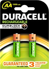 Duracell Plus 5000172 AA Rechargeable Batteries 1300 mAh (Pack of 2, Green)