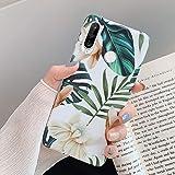 Compatibel met Huawei P30 Lite hoes, telefoonhoes Huawei P30 Lite case bloemen bladeren patroon ultradun TPU silicone hoes be