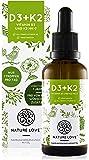 NATURE LOVE® Vitamin D3 + K2 (50ml flüssig) - Hoch bioverfügbar durch Original VitaMK7® 99,7% All-Trans + laborgeprüfte…