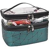 حقائب مستحضرات التجميل من إم كيه بي سي دبليو مزدوجة الطبقات حقائب مستحضرات التجميل لتنظيم أدوات الزينة, , اخضر داكن - MKPCW -
