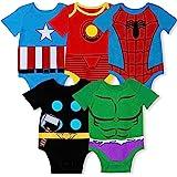 Marvel Pack de 5 Unesies de bebé Vengadores con Iron Man, Capitán América, Spiderman, Hulk, Thor