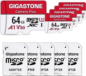 Gigastone 64gb Mirco Sd Speicherkarte 5er Pack Kamera Plus Actionkameras Und Drohnen Lesegeschwindigkeit Bis Zu 90mb