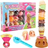 Balancing Tower Game, Ice Cream Tower Balancing Game Stacking Tower Food Pretend Play Toy Set with Scooper Birthday Present f