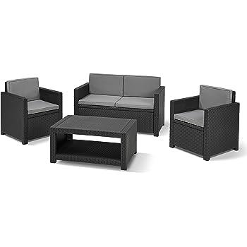 Allibert Lounge-Set Monaco 4tlg, graphit/cool grey: Amazon.de: Garten