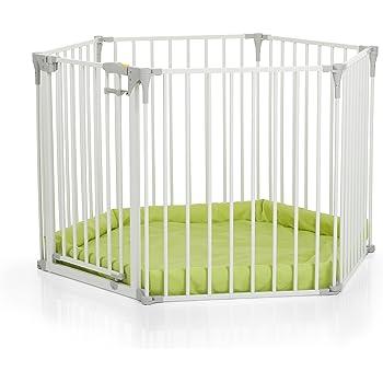 """Hauck / Parc Bébé """"Baby Park"""" / pour bébés et enfants / hexagonal avec 5 parties latérales et une porte / diamètre de 115 cm / avec tapis d'éveil / en métal / blanc (white)"""