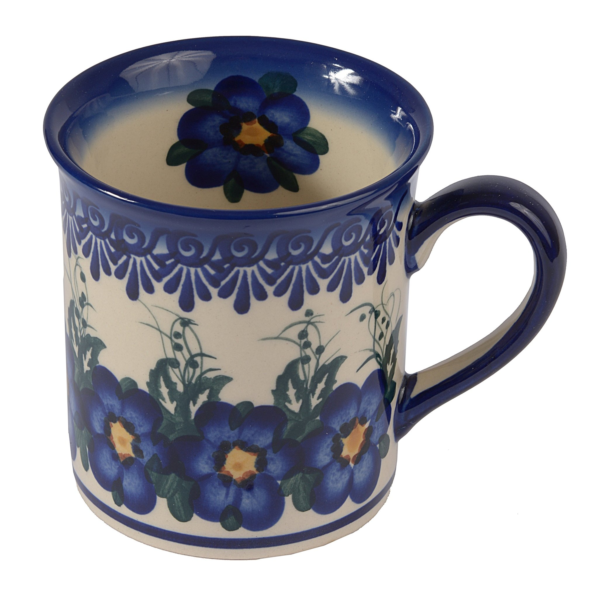 Traditional Polish Pottery, Handcrafted Ceramic Funnel-shaped Mug (300ml / 10.5 fl oz), Boleslawiec Style Pattern, Q.301.PANSY