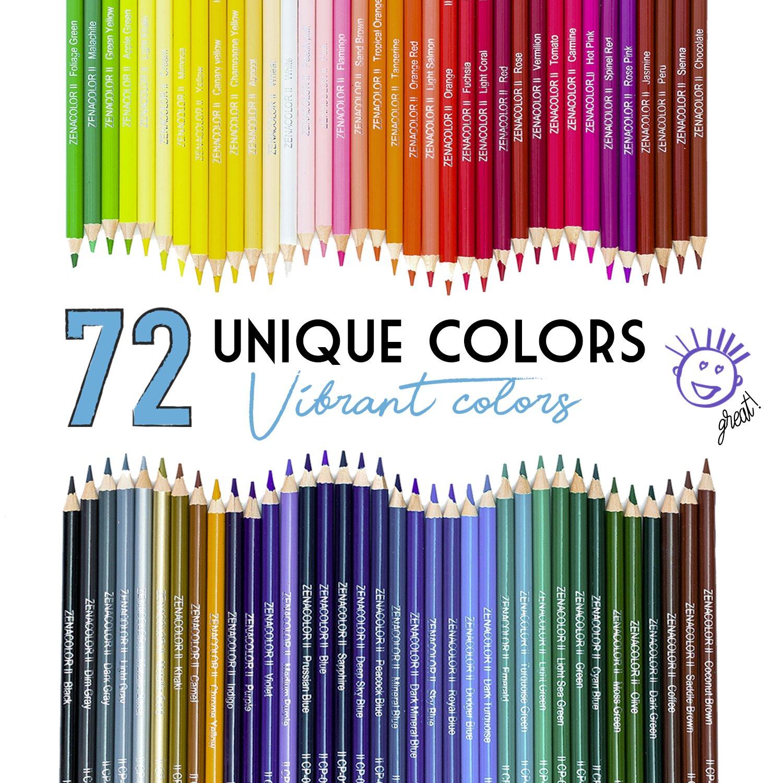 72 Matite Colorate (Numerato) con Scatola in Metallo da Zenacolor – 72 Colori Unici per Disegnare e Libri da Colorare Adulti – Facile Accesso con 3 Vassoi – Regalo Ideale per Artisti, Adulti e Bambini