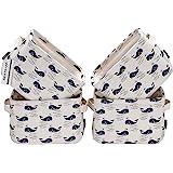 Sea Team Mini-équipe Pliable Nouveau thème Gris et Blanc - Corbeilles de Rangement en Tissu de Coton et Lin 100% Naturel(Whal