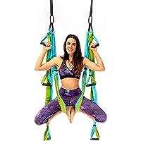 YOGABODY : Le Yoga Trapeze Pro. Pratiquer le Yoga Suspendu À L'Envers, Vidéos et Tableau de Pose Inclus, de Couleur Bleue/Verte
