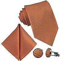 GASSANI Set di 3 cravatta da uomo a strisce, gemelli e fazzoletto da taschino, in 19 colori, tinta unita, a righe…