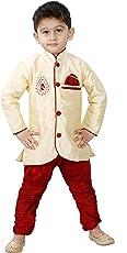 JBN Creation Boys Cotton Silk Kurta and Pyjama Set (Gold_VASBSW094)