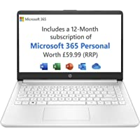 HP Stream 14s-fq0020na 14 Inch Laptop, White (AMD Athlon 3020e, 4 GB RAM, 64 GB eMMC, Windows 10 Home S) - Microsoft 365 (12 Month…