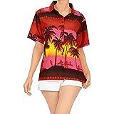LA LEELA Women American Flag Hawaiian Shirt Button Down Short Sleeve Shirt