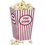 Relaxdays, rood/wit popcornzakken, 48 stuks, gestreept, Amerikaanse retrostijl, bioscoop, filmavend-accessoires, kinderverjaa