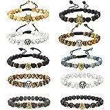 YADOCA 10 PCS 8MM Pierre Bracelets pour Homme Femme Oeil du Tigre Pierre de Lave Yoga Bracelet Elastique Boucle