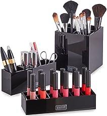 Beautify 3-teiliges Akryl Kosmetik Ordnungssystem Set für Make-up, Accessoires & Pflegeprodukte – Schwarz