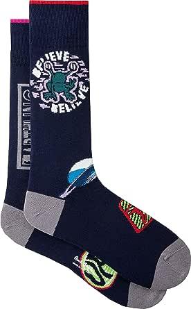 PAUL SMITH Mens Cotton Socks Navy Odd Earthling Badge One Size
