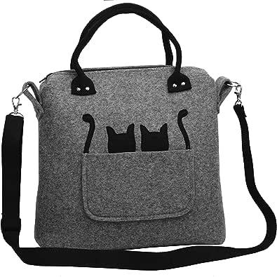 2 Känguru Katzen - Handmade [ extra leichte ] Handtasche Umhängetasche aus stabilisiertem Filz