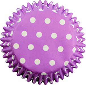 PME Lavender Polka Dots Paper Baking Cases for Cupcakes, Standard Size, Pack of 60