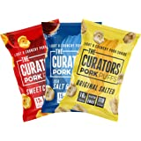 THE CURATORS Pork Puffs - Variety Pack, 22g (12 Packs) - High Protein Low Carb Keto Savoury Snacks, Salt & Vinegar, Original Salted & Sweet Chilli BBQ