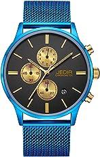 JEDIR Herren Uhren Chronograph Uhr Analog Quarzuhr klassisches Einfaches Design mit Datum Anzeige und Milanese Mesh Band