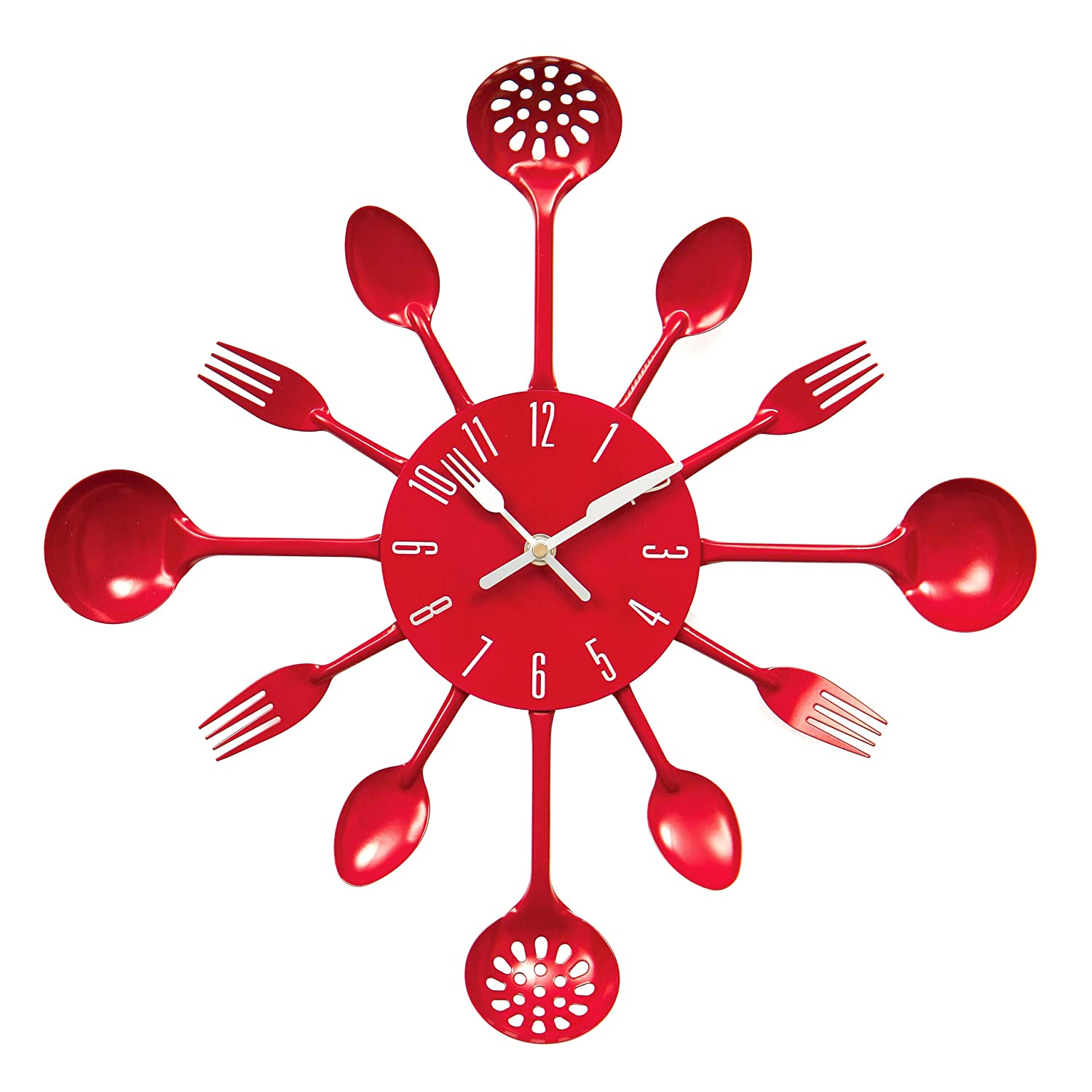 Wonderful Premier Housewares Cutlery Wall Clock   Red: Amazon.co.uk: Kitchen U0026 Home