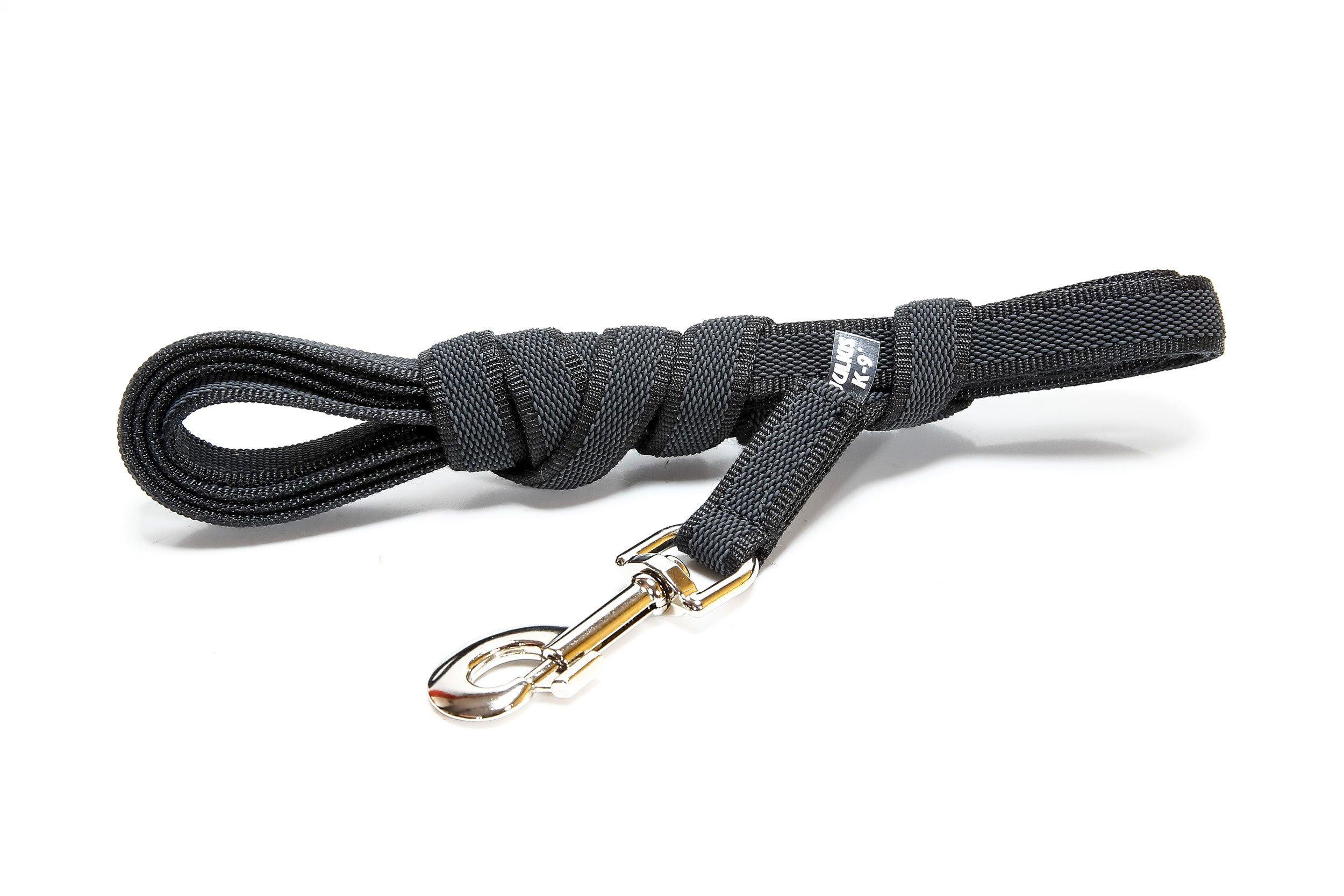 Julius-K9 Color & Gray Correa de Perro del Estupendo-Apretón con Asa, 14 mm x 3 m, Negro y Gris, 1.4 cm