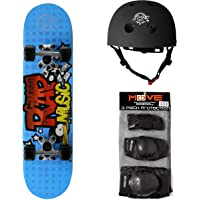Skate-Max set Skateboard + Protezioni + Casco per Bambini dai 6 agli 8 anni