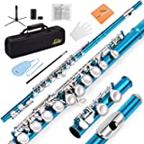 Andoer Western Concert Flute Cupronickel Plated Silver 16 Holes C Key Woodwind