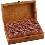 Esportic Tampons Alphabet,Timbres Stamper Seal Set,Tampons en Caoutchouc en Bois Ensemble,70pcs-Timbres avec Chiffres,Lettres