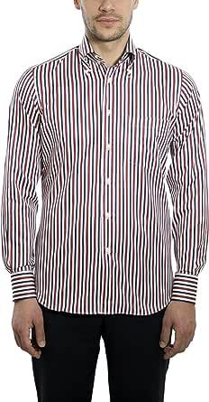 Dan Roma, Camicia Uomo, Esclusivo, Sport 2 Bottoni 100% Cotone, di Colore Bianco e Rosso e Blu, Taglia: XL