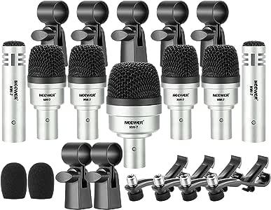 Neewer Kit di Microfono per Batteria a Percussione/Tamburo/Mic Condensatore Kit/Tamburo Jazzy/Strumento Vocale e Altro con Clip per Fili/Parabrezza in Schiuma e Custodia in Alluminio