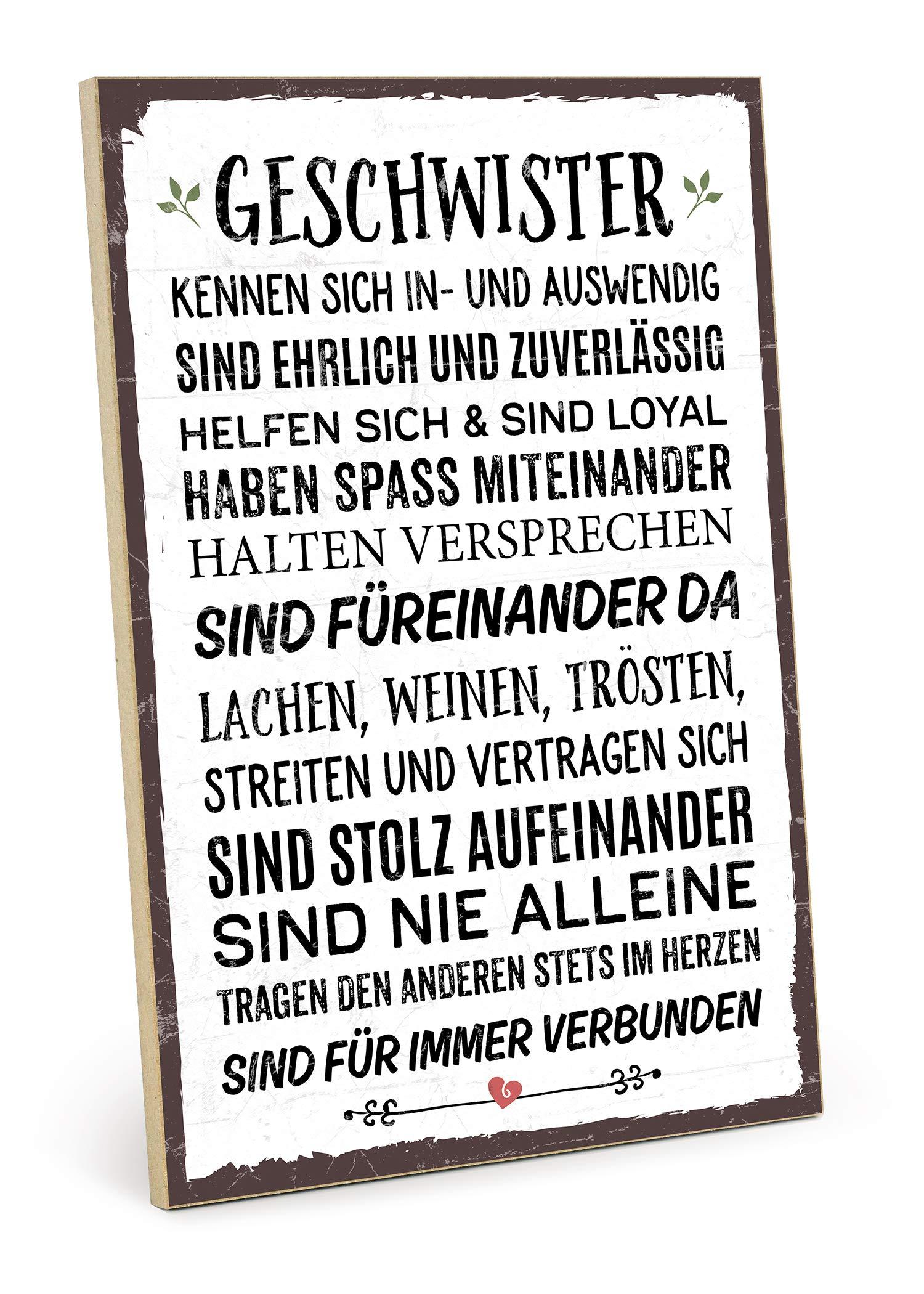 TypeStoff Holzschild mit Spruch – Geschwister – im Vintage-Look mit Zitat als Geschenk und Dekoration zum Thema Bruder…