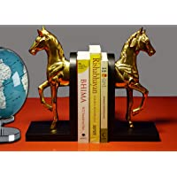 """Paper Pebbles Horse Bookends Gold Finish Set of 2 (Each Side ; 4"""" L x 5"""" W x 10"""" H)"""