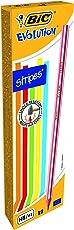 Bic Matita Evolution Stripes, Scatola con 12 Pezzi