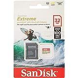 SanDisk - Tarjeta de Memoria Extreme 32 GB microSDHC para cámaras de Deportes de acción + Adaptador SD, Velocidad de Lectura